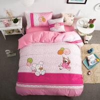 全棉儿童绣花床上四件套 卡通纯棉贴布绣套件 男孩女孩床上用品 1.5床/1.8床 被套200*230 床单225