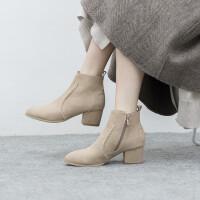 莫离磨砂小短靴女靴马丁靴及踝靴中跟粗跟及裸靴2018春秋冬季新款