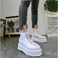 韩版冬季新款漆皮厚底松糕坡跟系带加绒及踝靴短靴马丁靴机车女鞋