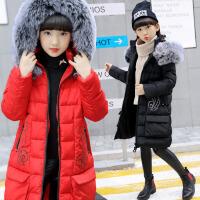 童装女童棉衣冬装保暖加厚2017韩版新款中大童中长款棉袄连帽儿童外套 BD915