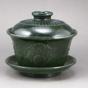 新疆和田玉青玉薄胎茶具天然玉石茶碗盖碗