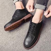 冬季加绒保暖棉鞋休闲皮鞋内增高男士中帮韩版潮流百搭英伦男鞋子