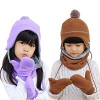 女冬 帽子手套围脖三件套  儿童保暖套  男学生厚绒护耳小孩宝宝