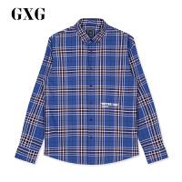 【新款】GXG男装 2020秋冬韩版蓝格纹长袖衬衫衬衣男潮GA103770E