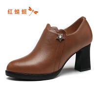 红蜻蜓女鞋新款秋冬粗跟尖头短靴简约高跟裸靴户外时装靴断码清仓