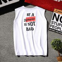 夏季运动背心男士加肥加大码韩版宽松无袖坎肩潮流青年圆领T恤男