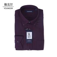youngor/雅戈尔 新品衬衫 RM16231MKY男士休闲时尚紫红色棉加羊毛长袖衬衣