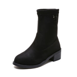WARORWAR新品YM39-Z816冬季欧美磨砂反绒低跟鞋女士靴子短靴