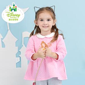 迪士尼Disney童装女童打底衫春秋新款加厚三层暖棉宝宝T恤上衣173S933