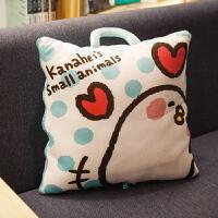 ???卡通小鸡午睡枕头抱枕被子两用靠垫办公室汽车沙发靠枕毯子空调被