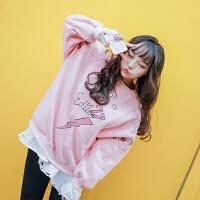 秋冬宽松可爱字母长袖卫衣加绒少女学院风粉色加肥加大码T恤上衣