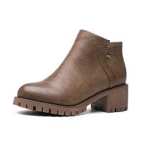如熙2017冬季新款马丁靴靴子女短靴女鞋粗跟圆头中跟切尔西靴子女