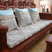 四季通用红木海绵沙发垫子布艺木椅套罩中式防滑实木家具沙发坐垫 慕羽 水蓝