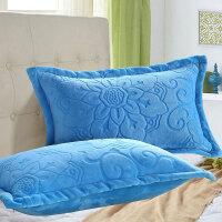 纯色珊瑚绒枕套冬季加厚法莱绒枕芯套一对装双面加绒枕头套单双人