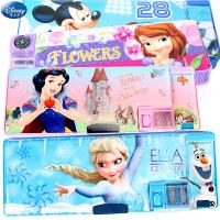 迪士尼文具盒苏菲亚公主冰雪奇缘女多功能塑料小学生创意铅笔盒