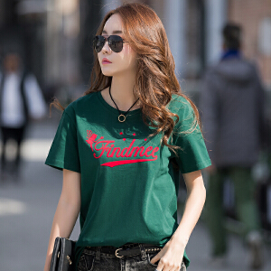 卡茗语短袖圆领t恤衫韩版潮宽松刺绣学生打底衫女装上衣小衫春装夏季潮