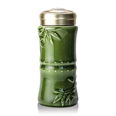 乾唐轩活瓷杯大竹报平安随身杯双层350ml创意陶瓷带盖茶水杯子竹节