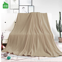 自然醒法兰绒纯色毛毯午睡毯客厅单人薄盖毯空调毯子学生宿舍毯子 浅棕色 150cmX(范围200-220)cm