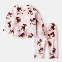 儿童珊瑚绒睡衣女童舒适家居服保暖童装冬装男童衣服宝宝可爱套装