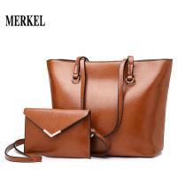 莫尔克MERKEL 托特包2020韩版简约个性时尚复古包油蜡皮欧美单肩斜跨手提包包女