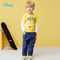 【129元3件】迪士尼Disney童装 男童运动套装春季新款假两件拼接长袖T恤两件套舒适外出服191T871