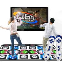 LED发光双人跳舞毯 网球乒乓球扔雪球体感游戏机 15mm米加厚 电视电脑两用跳舞 蓝白版