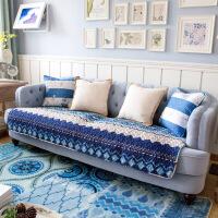 新款地中海蓝色全棉布艺防滑冬夏四季沙发垫坐垫沙发巾全盖