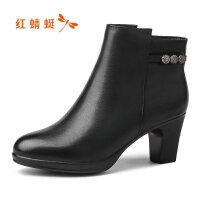 【红蜻蜓领�涣⒓�150】红蜻蜓时尚短靴女冬季新款真皮粗高跟女鞋绒里棉靴妈妈靴