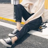 韩版冬季黑色加绒牛仔裤女长裤高腰宽松显瘦加厚带绒直筒哈伦裤BF