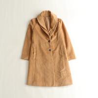 女秋冬中长款毛呢外套 西装领日系百搭OL呢子大衣1J