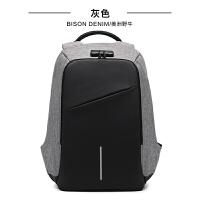 双肩包男士商务电脑包韩版时尚帆布包男休闲旅行双肩背包SN5691