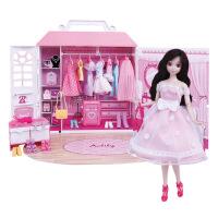 仿真芭比娃娃套装 洋娃娃温馨乐趣手推车女孩过家家礼盒玩具3-7岁 28CM
