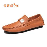 【书香节特卖 领�涣⒓�100】红蜻蜓真皮男单鞋春季新款时尚潮流套脚休闲男鞋软面舒适