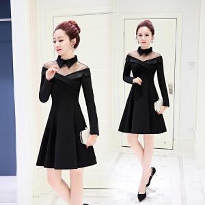 秋季新款韩版时尚中长款小个子气质纯色翻领连衣裙A字裙潮