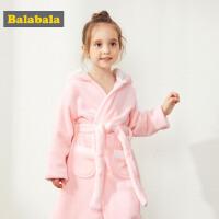 巴拉巴拉女童家居服秋冬新品加厚保暖儿童睡衣睡袍女小童长袖加绒