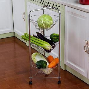 【领券满188减100】ORZ 多层铁艺厨房蔬菜架层架 可移动客厅卫生间置物架收纳架子