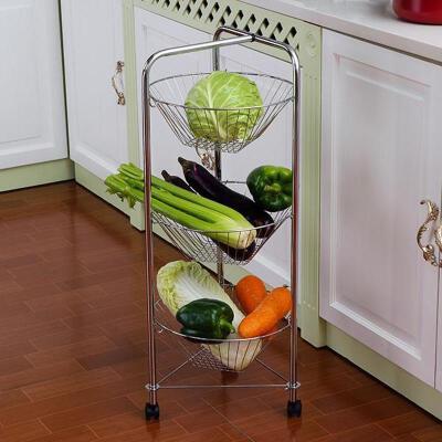 【满188减100】ORZ 多层铁艺厨房蔬菜架层架 可移动客厅卫生间置物架收纳架子100元礼券领取时间1.15-1.20 早买早发货