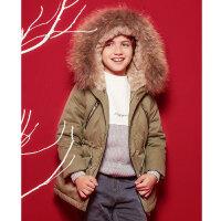 【2件2.5折到手价:193.75】米喜迪mecity童装冬款男童中长款大毛领90%灰鸭绒儿童羽绒服