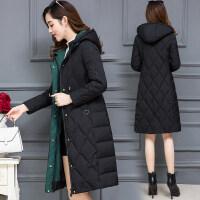 羽绒棉衣女士冬装新款修身外套中长款连帽加厚时尚棉袄潮