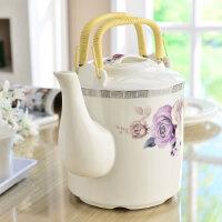 陶瓷冷水壶 大容量家用凉水壶 提梁茶壶骨瓷大号茶水壶单个花茶壶 清香淡紫 3L