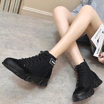 马丁靴 女士冬季英伦风马丁靴2019新款平底圆头帅气短靴系带帆布靴子女鞋子
