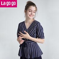 【5折价144】Lagogo/拉谷谷2018年夏季新款时尚气质OL条纹短袖T恤HASS324H14