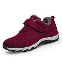 安全老人鞋秋冬季中老年健步鞋女妈妈鞋舒适软底休闲鞋加绒保暖二棉鞋