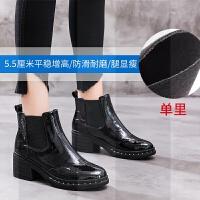 网红靴子2018新款秋季英伦风短筒加绒马丁粗跟漆皮瘦瘦短靴女鞋冬SN7318