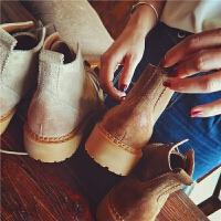 秋季新款磨砂真皮短靴女布洛克系�яR丁靴女靴子英���L粗跟