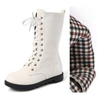 儿童马丁靴高筒靴黑白色长靴秋冬款女童演出鞋表演真皮男童棉靴子