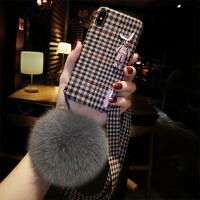 毛绒布艺苹果X手机壳挂绳iPhone7plus格子6个性xsmax新款8p女 iphone X (5.8) 粉色