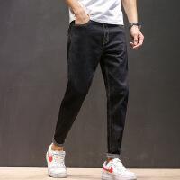 秋季哈伦牛仔裤宽松小脚港风青年休闲裤力修身黑色冬季加绒