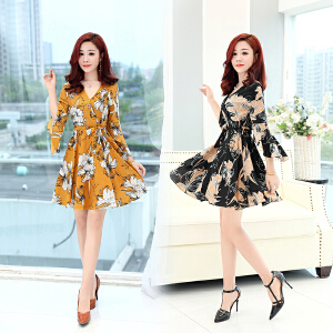 雪纺连衣裙女装夏装2018新款中长款小个子夏天的裙子