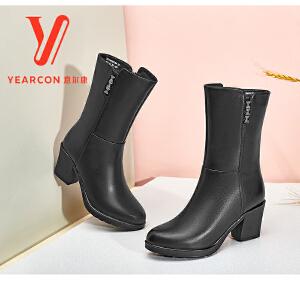 意尔康女鞋 2017新款时尚粗跟中筒女靴子简约尖头真皮高跟中靴女